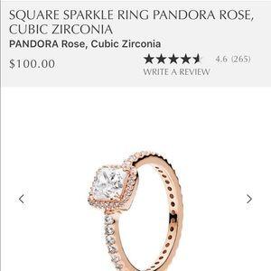 Pandora Rose Square Sparkle Ring